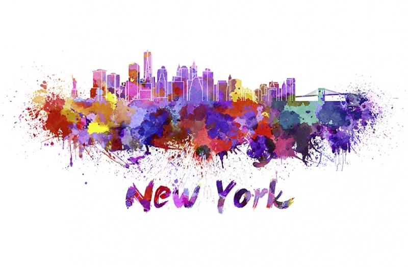 New York İllustrasyon Dünyaca Ünlü Şehirler Kanvas Tablo