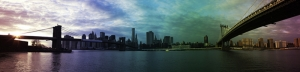 New York Renkli Panaroma Panaromik Manzara Kanvas Tablo