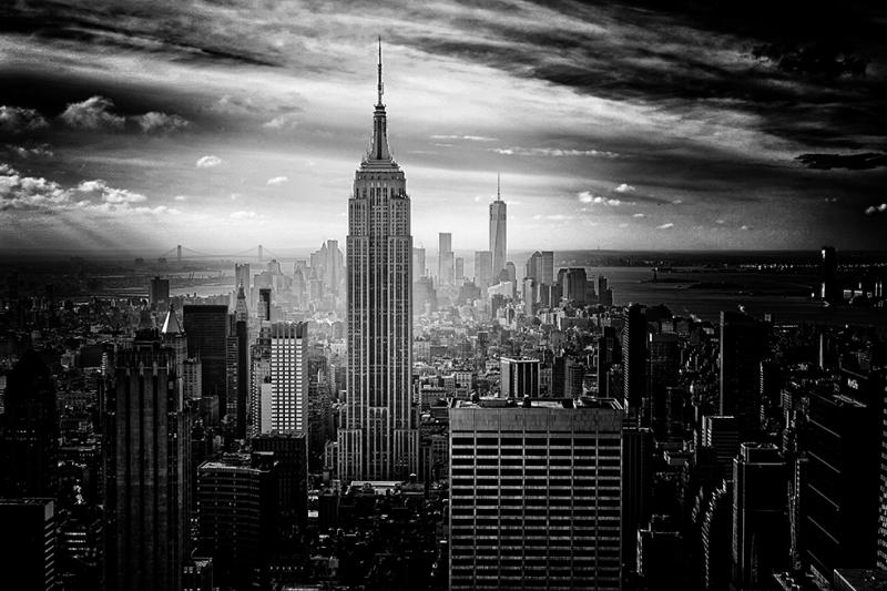 New York Şehri 2 Siyah Beyaz Fotoğraf Kanvas Tablo