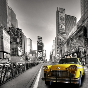 New York Şehri Sokakları Amerika Siyah Beyaz Fotoğraf-5 Dünyaca Ünlü Şehirler Kanvas Tablo