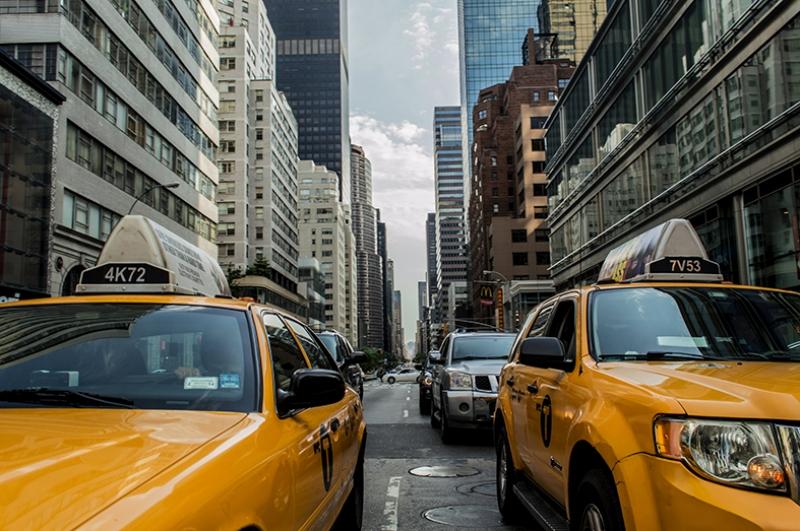 New York Taksi Dünyaca Ünlü Şehirler Kanvas Tablo