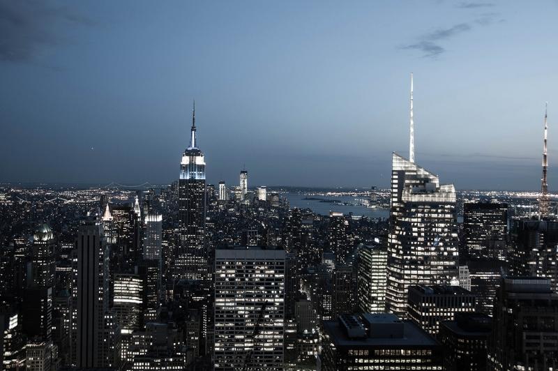 Newyork Şehir Manzarası Gökdelenler-9 HD Akşam Manzarası Dünyaca Ünlü Şehirler Kanvas Tablo