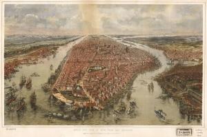 Newyork Sehri Eski Cizim Harita Cografya Kanvas Tablo