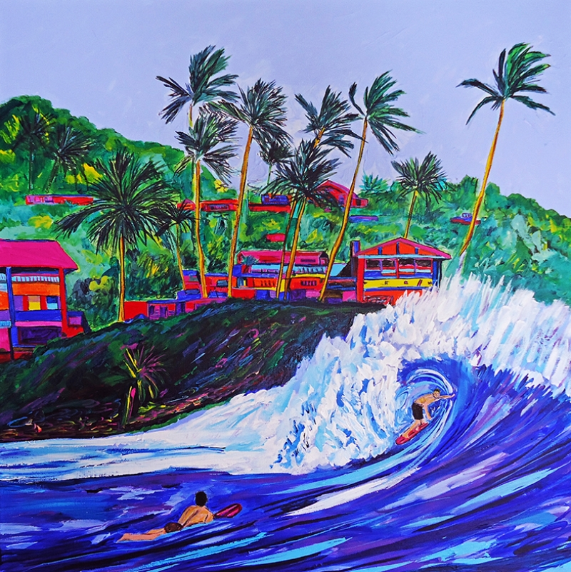 Nicholas Vitale Okyanus ve Sörfçü Yağlı Boya Sanat Kanvas Tablo