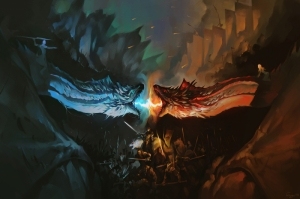 Night King And Khaleesi Fighting With Dragons Artwork Kanvas Tablo