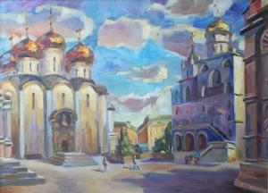 Nina Silaeva Moskova Kremlin Katedral Meydanı Yağlı Boya Klasik Sanat Kanvas Tablo