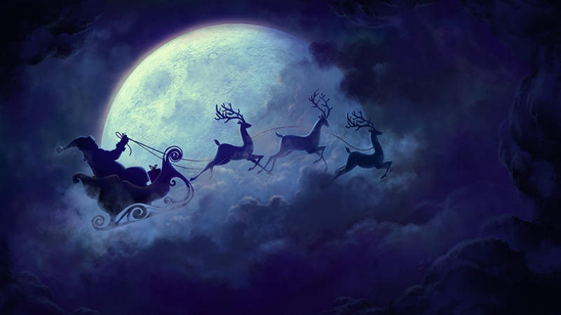 Noel Baba Abstract Dijital ve Fantastik Kanvas Tablo