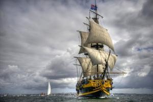 Nostaljik Yelkenli Gemi Araçlar Kanvas Tablo