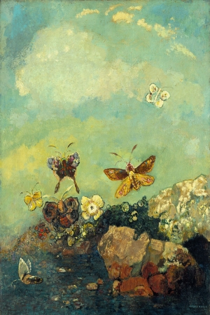 Odilon Redon Kelebekler Yagli Boya Klasik Sanat Kanvas Tablo