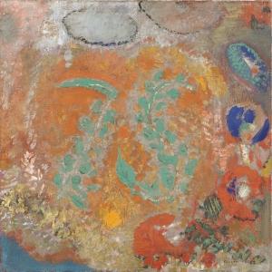 Odilon Redon Vazosuz Cicek Kompozisyonu Yagli Boya Klasik Sanat Kanvas Tablo