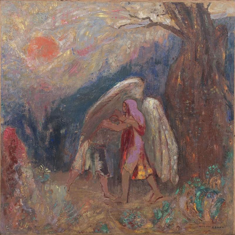 Odilon Redon Yakup ve Melek Yagli Boya Klasik Sanat Kanvas Tablo