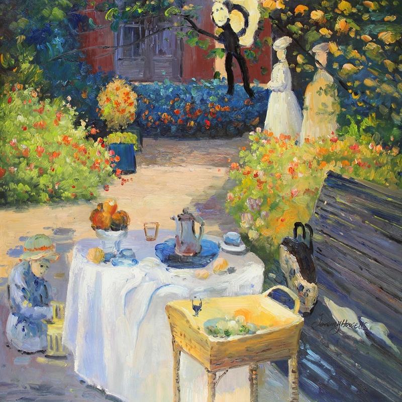 Öğle Yemeği, Yeşil Bahçe Dekoratif Kanvas Tablo