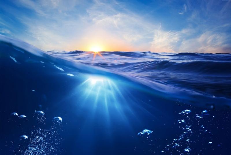 Okyanus Gün Batımı Su Altı HD Doğa Manzaraları Kanvas Tablo