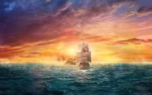 Okyanusta Korsan Gemisi Doğa Manzaraları Kanvas Tablo
