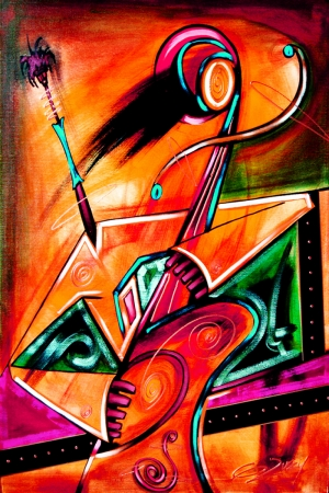Opera Soyut Afrika Müzik Aletleri-1 Kanvas Tablo