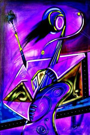 Opera Soyut Afrika Müzik Aletleri-3 Kanvas Tablo