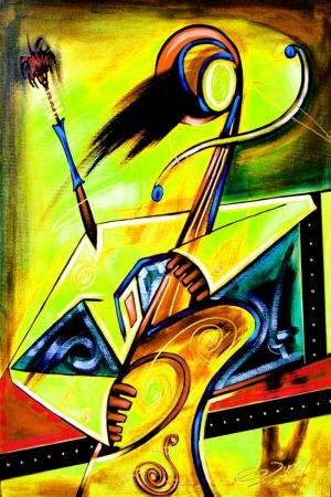 Opera Soyut Afrika Müzik Aletleri-8 Kanvas Tablo