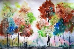 Orman Manzarası 1 Sulu Boya Sanat Kanvas Tablo