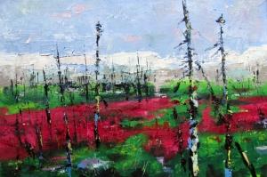 Orman Manzarası Yangın Çiçekleri Yağlı Boya Sanat Kanvas Tablo