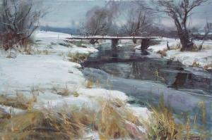 Orman, Nehir HD Kış Manzarası, Doğa Manzaraları Kanvas Tablo