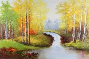 Orman Nehri Doğa Manzaraları 1 Yağlı Boya Sanat Kanvas Tablo