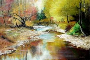 Orman Nehri Doğa Manzaraları 10 Yağlı Boya Sanat Kanvas Tablo