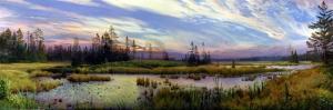 Orman Nehri Doğa Manzaraları 16 Panoramik Yağlı Boya Sanat Kanvas Tablo