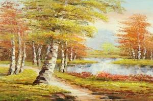 Orman Nehri Doğa Manzaraları 2 Yağlı Boya Sanat Kanvas Tablo