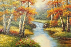 Orman Nehri Doğa Manzaraları 3 Yağlı Boya Sanat Kanvas Tablo