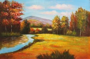 Orman Nehri Doğa Manzaraları 4 Yağlı Boya Sanat Kanvas Tablo