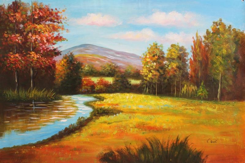 Orman Nehri Doga Manzaralari 4 Yagli Boya Sanat Kanvas Tablo