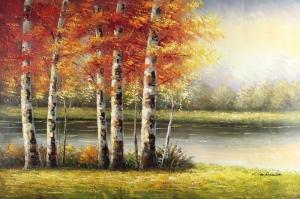 Orman Nehri Doğa Manzaraları 5 Yağlı Boya Sanat Kanvas Tablo