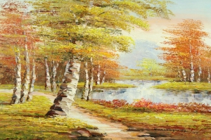 Orman Nehri Doğa Manzaraları 6 Yağlı Boya Sanat Kanvas Tablo