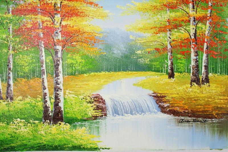 Orman Nehri Doğa Manzaraları 7 Yağlı Boya Sanat Kanvas Tablo