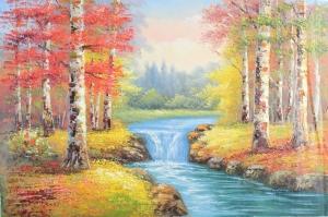 Orman Nehri Doğa Manzaraları 8 Yağlı Boya Sanat Kanvas Tablo