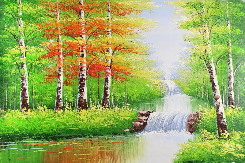 Orman Nehri Doğa Manzaraları 9 Yağlı Boya Sanat Kanvas Tablo