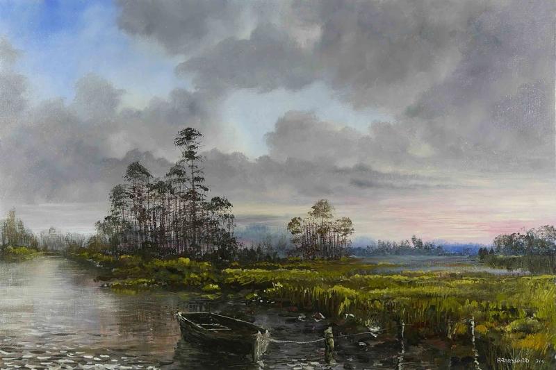 Orman Nehri, Doğa Manzarası 10 Yağlı Boya Sanat Kanvas Tablo