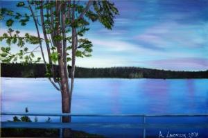 Orman Nehri, Doğa Manzarası 11 Yağlı Boya Sanat Kanvas Tablo
