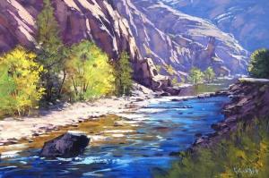 Orman Nehri, Doğa Manzarası 12 Yağlı Boya Sanat Kanvas Tablo