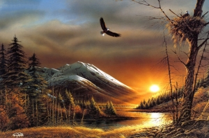 Orman Nehri, Doğa Manzarası 2 Yağlı Boya Sanat Kanvas Tablo
