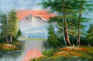 Orman Nehri, Doğa Manzarası 4 Yağlı Boya Sanat Kanvas Tablo