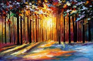 Orman Nehri, Doğa Manzarası 5 Yağlı Boya Sanat Kanvas Tablo