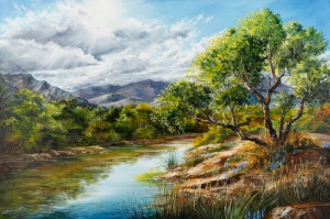 Orman Nehri, Doğa Manzarası 8 Yağlı Boya Sanat Kanvas Tablo