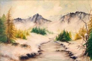 Orman Nehri Kış Manzarası Yağlı Boya Sanat Kanvas Tablo