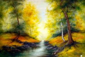 Orman Nehri Sonbahar Manzarası 1 Yağlı Boya Sanat Kanvas Tablo