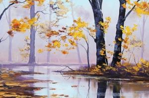 Orman Nehri Sonbahar Manzarası 2 Yağlı Boya Sanat Kanvas Tablo
