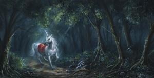 Ormandaki Unicorn At Hayvanlar Kanvas Tablo