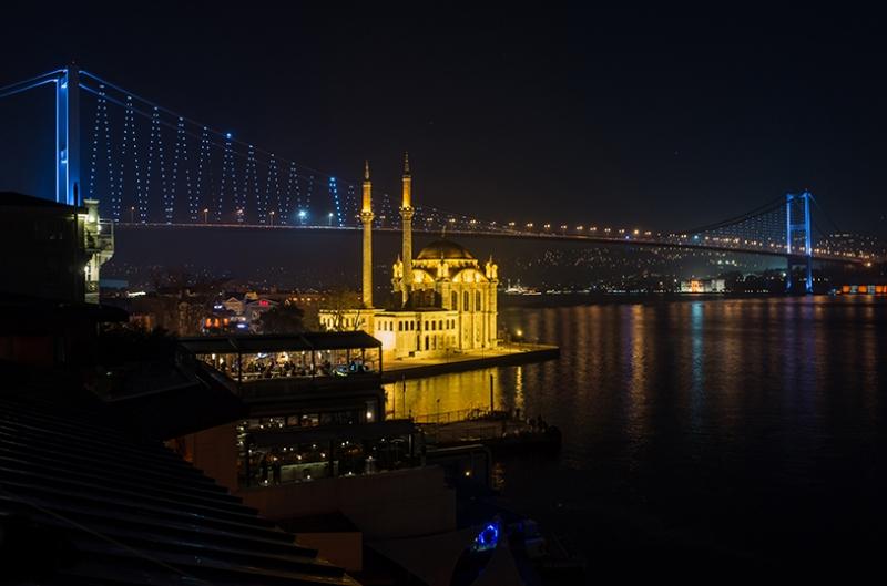 Ortaköy Camii Boğaz Manzarası Dünyaca Ünlü Şehirler Kanvas Tablo