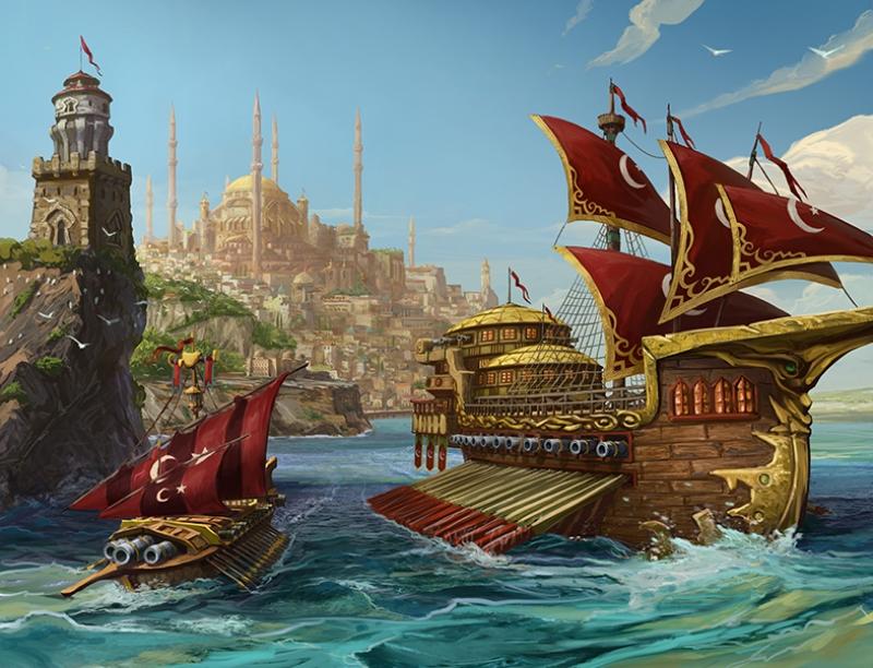 Osmanlı Kadırgaları Yağlı Boya Sanat Kanvas Tablo