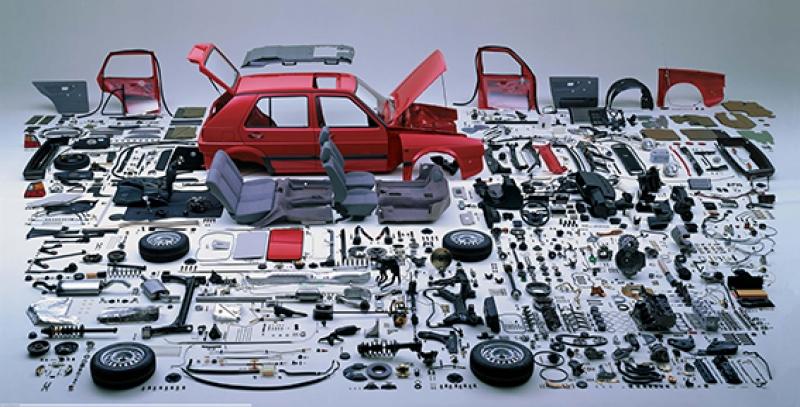 Otomobil Parçaları Puzzle Kanvas Tablo